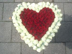 Bloemenhart rode en witte rozen