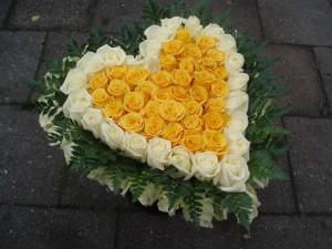 Bloemenhart geel wit